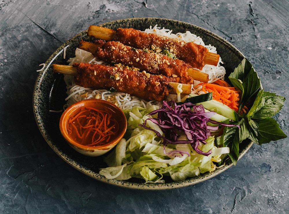 51. Sugarcane Shrimp on Vermicelli