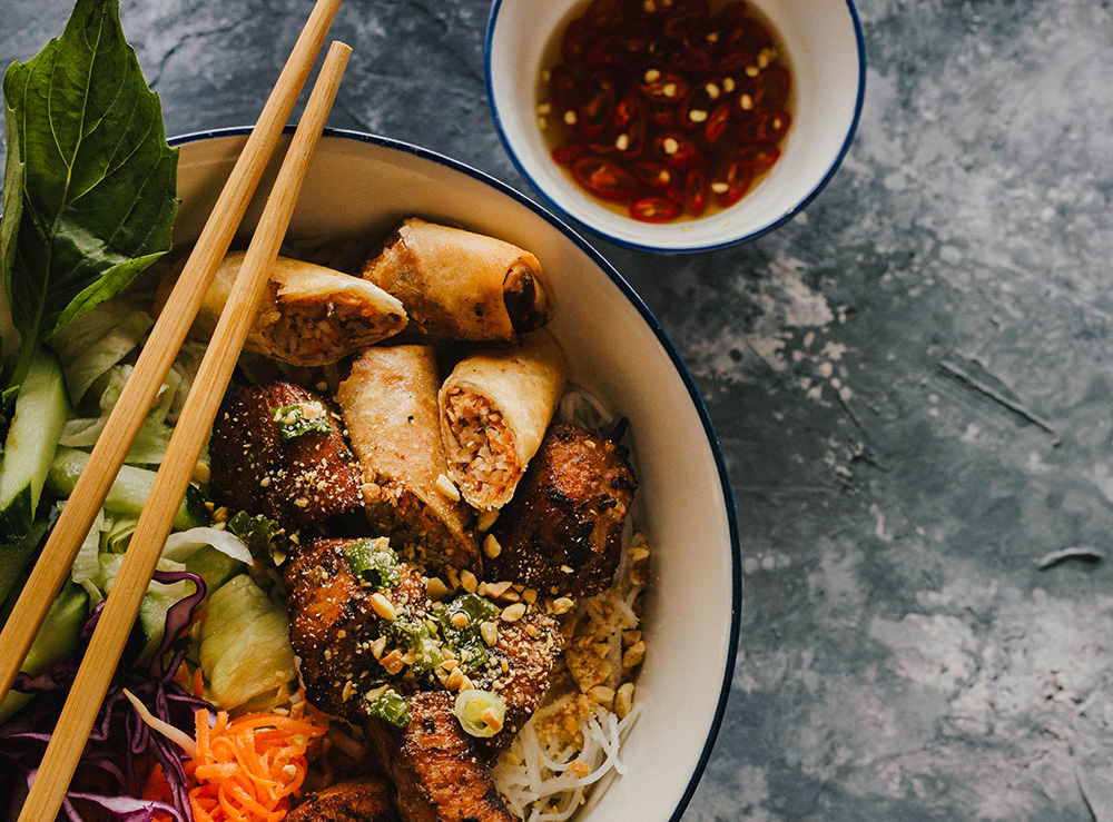 56. Grilled Chicken & Spring Roll on Vermicelli