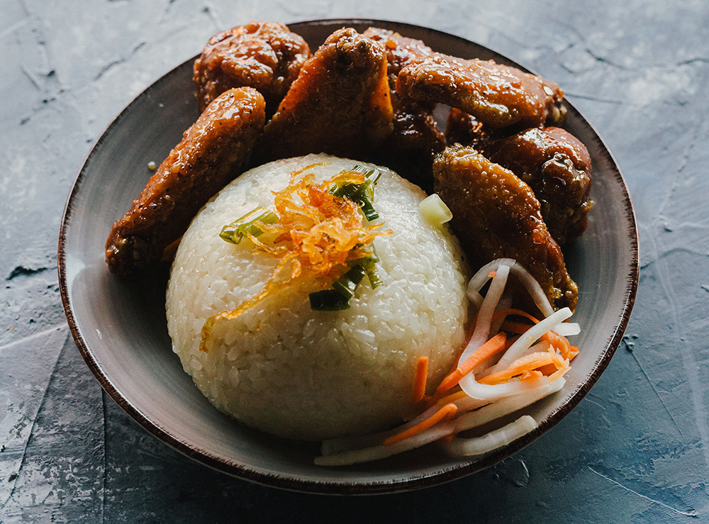 73. Asian Chicken Wings on Coconut Sticky Rice