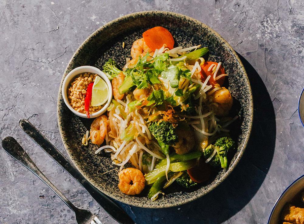 75. Rice Noodle Stir-Fry with Vegetables & Shrimp